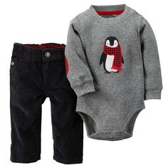 Carter's Penguin Thermal Bodysuit & Corduroy Pants Set - Baby Boy, Size: