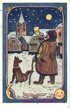 Nocturne, Artsy Fartsy, Illustrators, Folk Art, Fairy Tales, Vintage Items, Christmas Cards, The Past, Clip Art