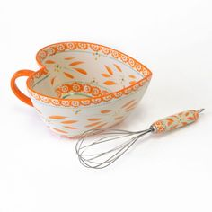 temp-tations® Old World 2-qt. Heart-Shaped Mixing Bowl with Matching Whisk in Tangerine :: temp-tations® by Tara