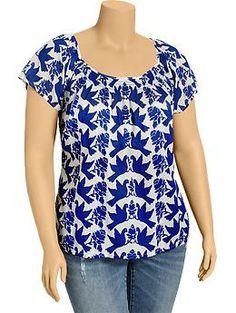 Womens Plus Bird-Print Gauze Tops Plus Size Blouses, Plus Size Tops, Plus Size Summer Fashion, Bird Prints, Matching Outfits, Fashion Outfits, Womens Fashion, Dress Patterns, Blouse Designs