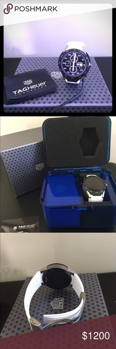 Tag Heuer Connected Watch with white band. Tag Heuer Connected Watch with white band. Only worn once. Includes watch, charging dock, micro USB cable, 1 wall plug and instructions and warranty. Tag Heuer Accessories Watches
