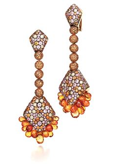 De Grisogono Melody of Colours earrings with pink and orange sapphires and brown diamonds set in pink gold.