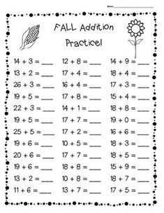 FALL Addition Practice Worksheet Pack – 3 Leveled Sheets for Back to School! Ks1 Maths Worksheets, Addition Worksheets, Reading Comprehension Worksheets, Math Addition, Math Activities, Spanish Lessons For Kids, Grande Section, Math Practices, Basic Math