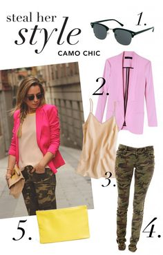 Steal Her Style: Camo Chic / Although camo print was once reserved for hunters and soldiers, adding in a few girly touches makes this traditionally rustic print instantly chic. We love pairing a sleek pair of skinny camo pants with a bubblegum pink blazer and neutral tank. Bright yellow touches are the perfect addition to this look, which we will be rocking all summer long.