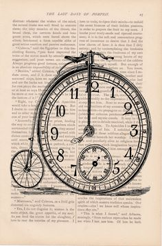 Bike Clock Watch Book Page Print. I'd like to get a bunch of little cards like this and do a picture line over the chalkboard.