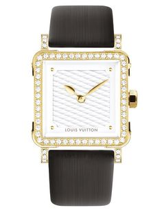 LOUIS VUITTON Emprise (Women) • This classic timepiece from Louis Vuitton features a simple, numeral-free dial, enclosed in a radiant yellow-gold body studded with diamonds. A rounded square profile pays homage to the trunks that have become synonymous with the brand. Available in May. $16,900.