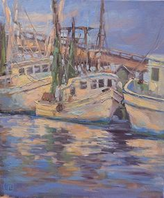 """Dottie T Leatherwood ~ """"Nestled in"""" ~ Oil on Canvas 24 x 20 Boat Art, Lighthouses, Marines, Pastels, Still Life, Oil On Canvas, Boats, Landscapes, Ships"""