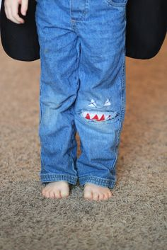 Cute way to mend kids pants.