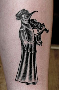 traditional plague doctor playing the fiddle @hammersmithtattoo #traditional…