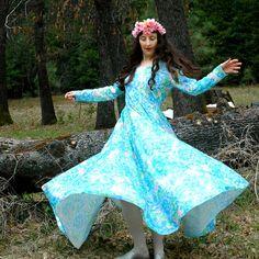 70s Watercolor Floral Maxidress// Blue Vintage Maxi Dress// Dancing Dress// by AstralBoutique, $38.00