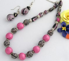 Pink Necklace with earring