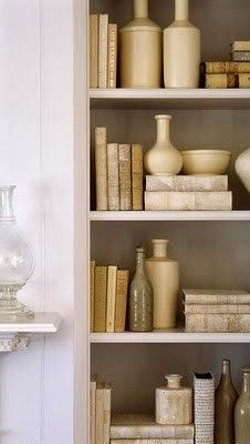 White Porcelain, neutral shades, books covered in coordinating papers ...