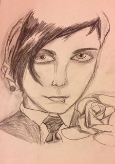 A portrait of Frank Iero of My Chemical Romance.