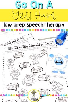 """The articulation therapy planning is done for you with this game. This resource is easy to prep, provides gross motor breaks, and is a simple, engaging way to get a ton of articulation trials. Hide the 10 yetis around the room and have your students find them. Each yeti corresponds to one target word or language concept- something the yeti 'ate'. Your student must practice their word or concept in order to """"catch"""" the yeti! They will seriously have a blast with this resource! Articulation Therapy, Articulation Activities, Speech Therapy Activities, Phonological Processes, Therapy Games, Christmas Activities For Kids, Apraxia, Gross Motor, Trials"""