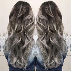 Smoky hair color and beautiful long wavy hair by Janai Hartt hotonbeauty.com #hairpainting #balayage