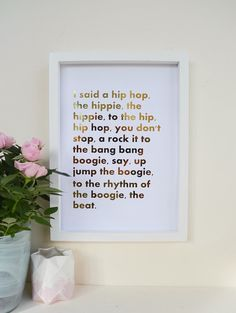 Rapper's delight Lyrics  Gold Real Foil Custom by CelestialQuotes