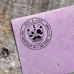 Custom Sugarskull Stamp - Address Round Stamp - Sugar Skull Ink Label - (Sugarskull_016)