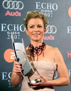 Soprano Christine Schäfer with an award
