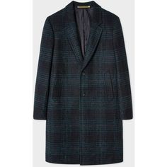 PS Paul Smith Men's Navy Check Wool-Blend Epsom Coat ($790) ❤ liked on Polyvore featuring men's fashion, men's clothing, men's outerwear, men's coats, navy, mens coats, mens single breasted pea coat, mens fur lined coat and men's wool blend coat