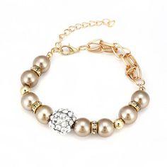 pulsera de perlas de cristal , chapado en color dorado