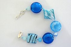 Murano Glass Bracelet in Shades of Turquoise by irideae on Etsy, $29.00