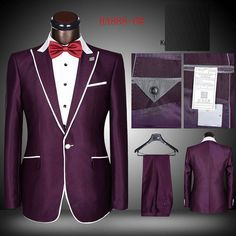 One button peak lapel trimmed suit