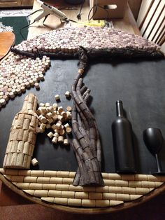 Cork art in the making! Already looks amazing! Beer Crafts, Wine Cork Crafts, Bottle Crafts, Diy And Crafts, Wine Cork Art, Wine Corks, Wine Cork Projects, Champagne Corks, Cork Ideas