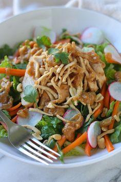 Crunchy Thai Chicken Salad with Peanut Dressing from Lauren's Latest
