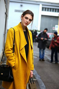yellow topper? in this case... hells yes. #VittoriaCeretti #offduty in Milan.