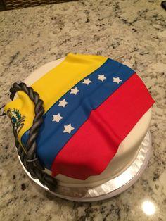 Venezuela's flag Bday Cake - Fondant Fiesta Theme Party, Party Themes, Fondant Cakes, Cupcake Cakes, Colombian Flag, Venezuela Flag, Spanish Projects, Venezuelan Food, Flag Cake
