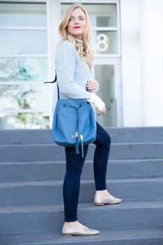 icy blue sweater, soft blue sweater with white piping