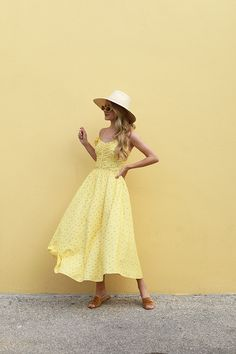 Spring calls for yellow florals, straw hats, and suede slides! Atlantic-Pacific