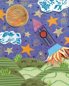 Blast Off Collage - Combine with Starry Night - Van Gogh Art Lesson K-5