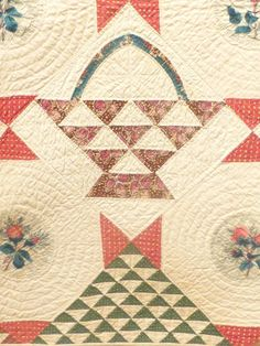 """Antique Quilt, """"Baskets"""" with Chintz Rose Medallions and """"Birds-in-Air"""" Border 