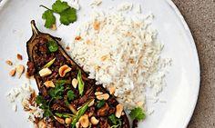 Thomasina Miers' roast aubergines with Szechuan fragrant pork