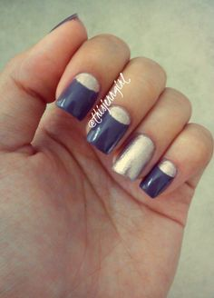 Latest nail art design: purple half moons! Purple and gold...how royal can you get? ;)