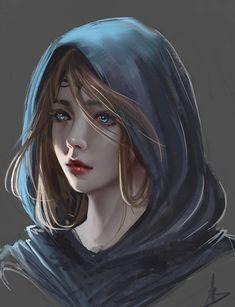 Doodle by z–ed on DeviantArt - Fantasy Figuren Digital Art Girl, Digital Portrait, Portrait Art, Cool Anime Girl, Anime Art Girl, Anime Girls, Character Portraits, Character Art, Arte Disney
