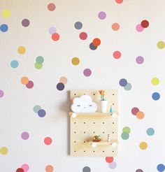 Muted Rainbow Confetti Dots Wall Decal #dot-decal #dot-stickers #dot-wall-decal