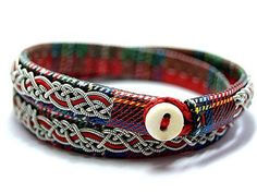 Double leather cuff bracelet for men and women Sami double  #handmade #red #bracelets #Sami #saami #viking #Scandinavian #celtic #lapon #leather #pewter #silver