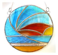 Sunset Waves Stained Glass Suncatcher - The British Craft House Ocean Themes, Suncatchers, Home Crafts, Stained Glass, Abstract Art, Craft House, Things To Come, Waves, Colours