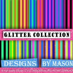 "Stripes, Background Paper, Bright Digital Paper, 18 ""GLITTER STRIPE PAPER"" , Striped Paper, Digital Paper, Printable Paper, Instant Download..."