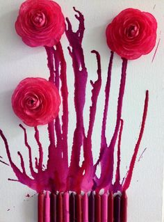 Pink Melted Crayon Art
