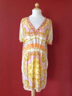 ZARA WOMAN Contrast Print Studded 100% Mulberry Silk Mini Dress Size M #ZARA…