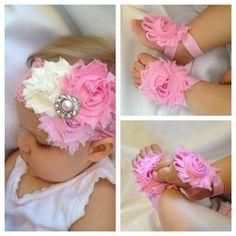 Pink Headband & barefoot sandal gift set - rosette headband via Etsy