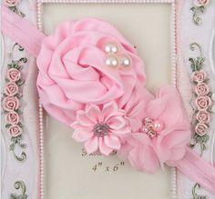 Elastic Headbands with pearl flower baby girl hair accessories infant rose flower hairbands headwear