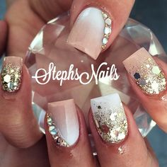 Nude, gold and white @_stephsnails_