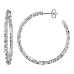 Diamond Hoop Earrings-Sterling Silver - jcpenney