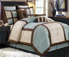 Modern Blue And Brown Bedroom 8pc modern color block sage green ivory comforter set | brown
