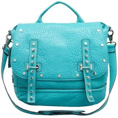 Rebecca Minkoff Pre-owned Rebecca Minkoff Logan Edgy Silver Studded... ($229) ❤ liked on Polyvore featuring bags, handbags, shoulder bags, sea green, backpack strap pouch, pocket pouch, backpack purse, rebecca minkoff pouch and silver shoulder bag