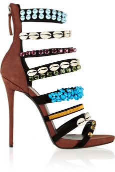 Giuseppe Zanotti Coline embellished suede sandals    NET-A-PORTER